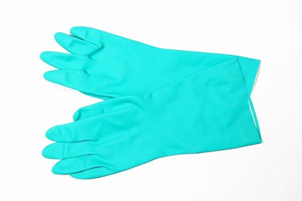 Nitril Handschuhe, grün, Velour mit Beflockung, latexfrei