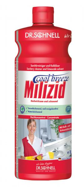 Milizid Cool Breeze, Sanitärreiniger und Kalklöser, 1 l, 10 l und 1 l zum Nachfüllen
