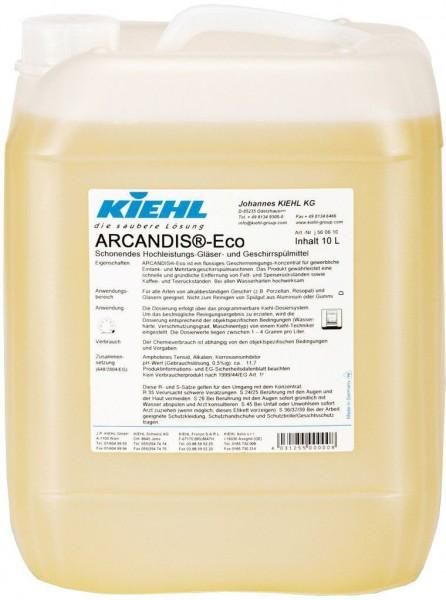 Arcandis Eco, Schonendes Hochleistungs-Gläser- und Geschirrspülmittel, 10 l und 20 l