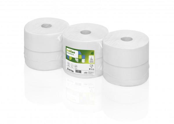 Jumbo Toilettenpapierrollen, 2-lagig, 25,5 cm, 320 m/Rolle, VE=6 Rollen