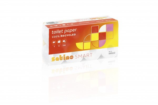Satino Smart Toilettenpapier 2-lagig, 250 Blatt/Rolle, VE=64 Rollen