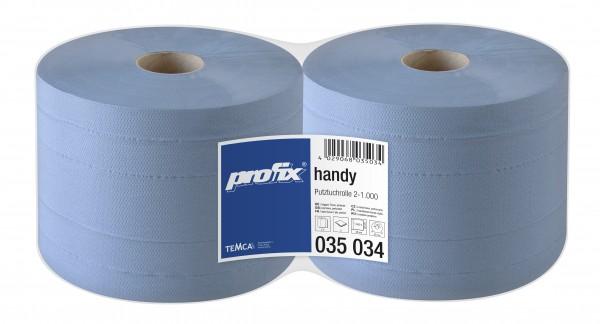 profix Handy Putztuchrolle, blau, 2-lagig, 22 x 38 cm, 1000 Blatt, VE=2 Rollen