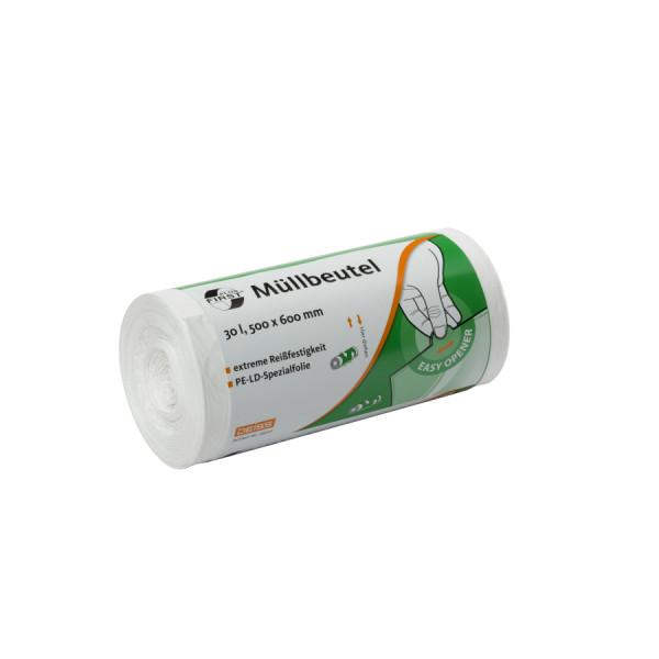 Müllbeutel 500x600, 30l, weiß, LDPE, 50/Rolle