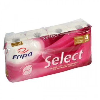 Fripa Select Toilettenpapier Kleinrolle 4-lagig, 8 x 160 Blatt, VE=48 Rollen